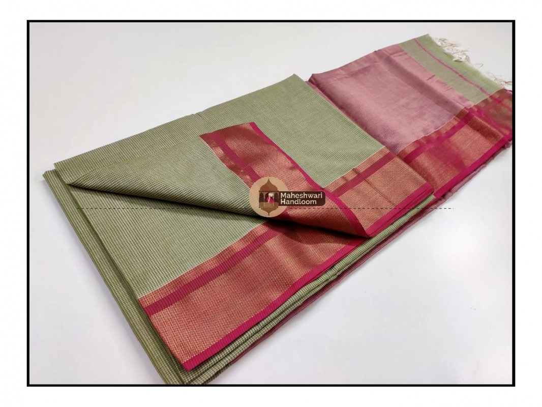 Maheshwari Pista Green Checks Fabric Saree