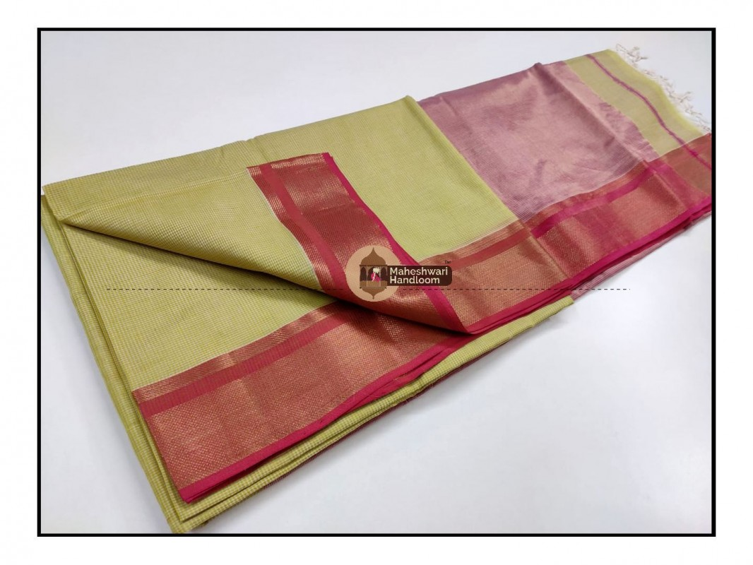 Maheshwari  Green Checks Fabric Saree