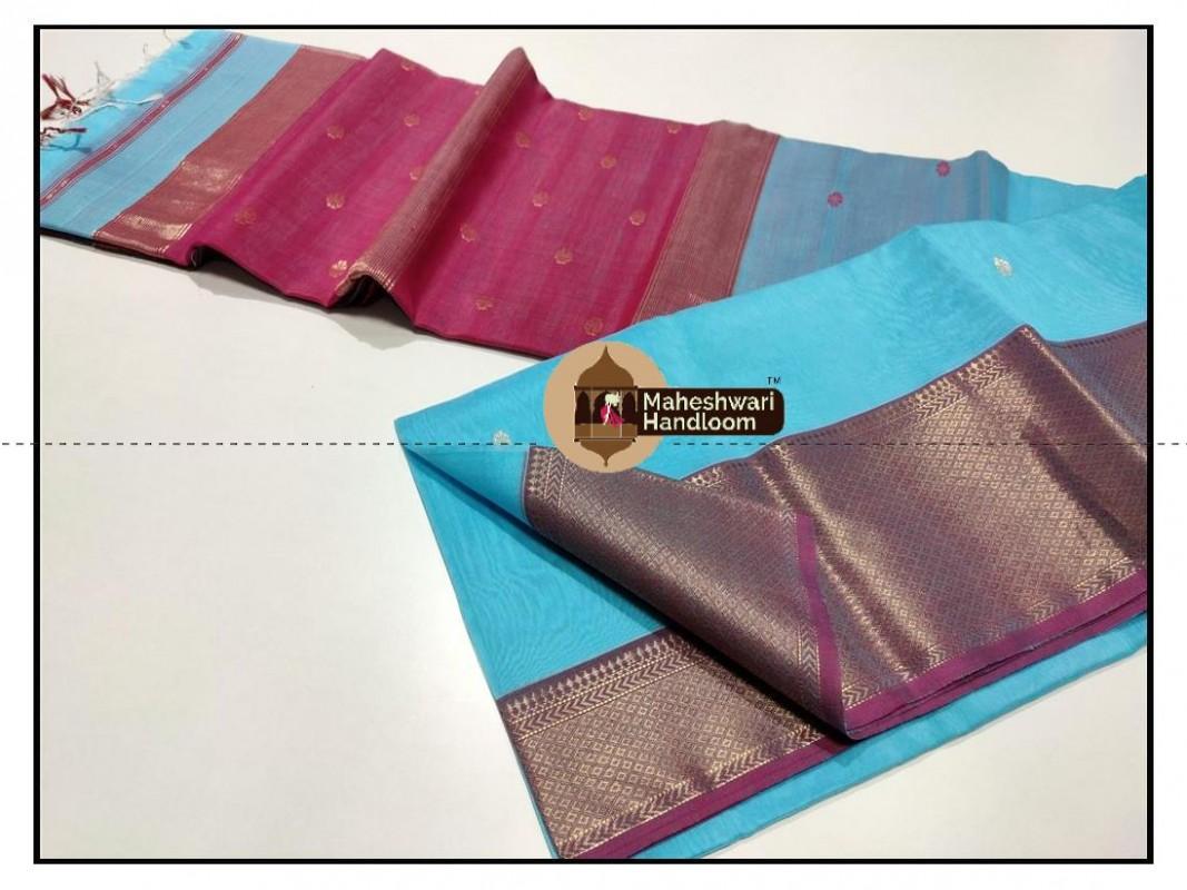 Maheshwari Firozi Jari Skirt Buti Weaving Saree