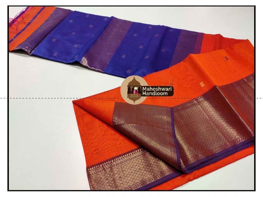 Maheshwari Orange Jari Skirt Buti Weaving Saree