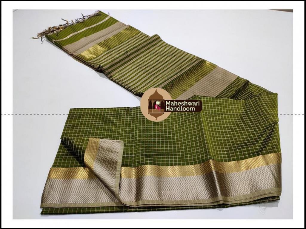 Maheshwari Mehandi Green Jari Checks Body Saree