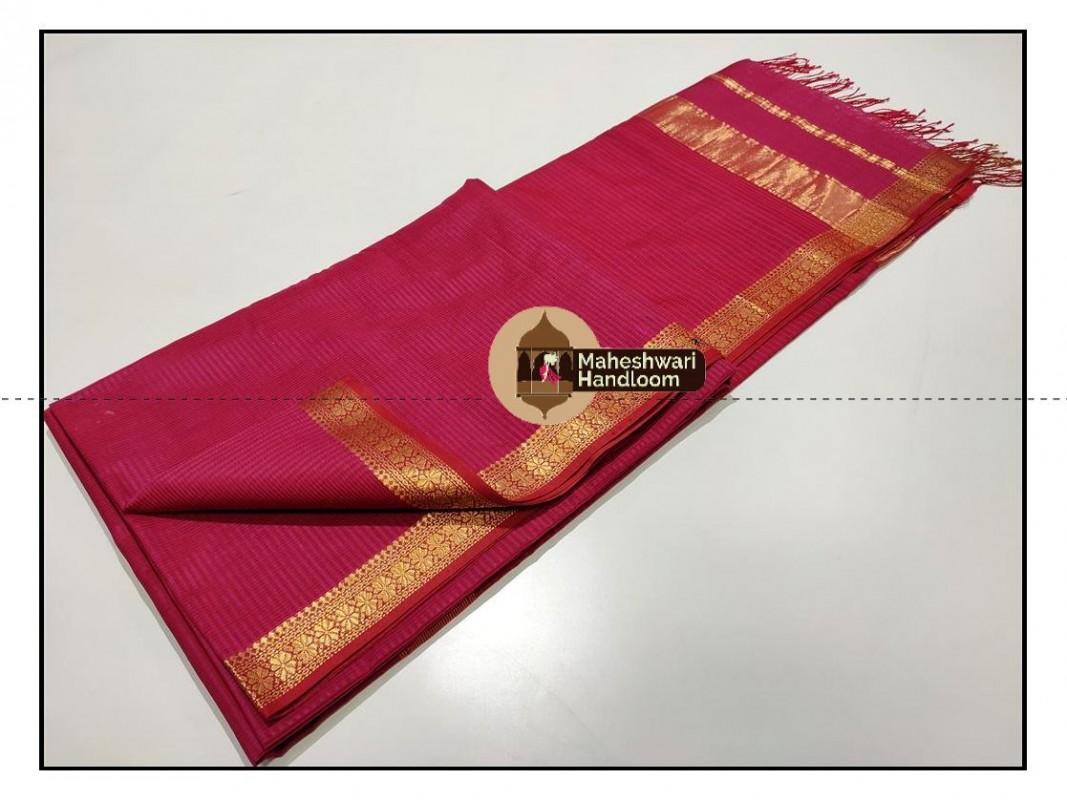 Maheshwari Pink Garbh Reshmi Saree