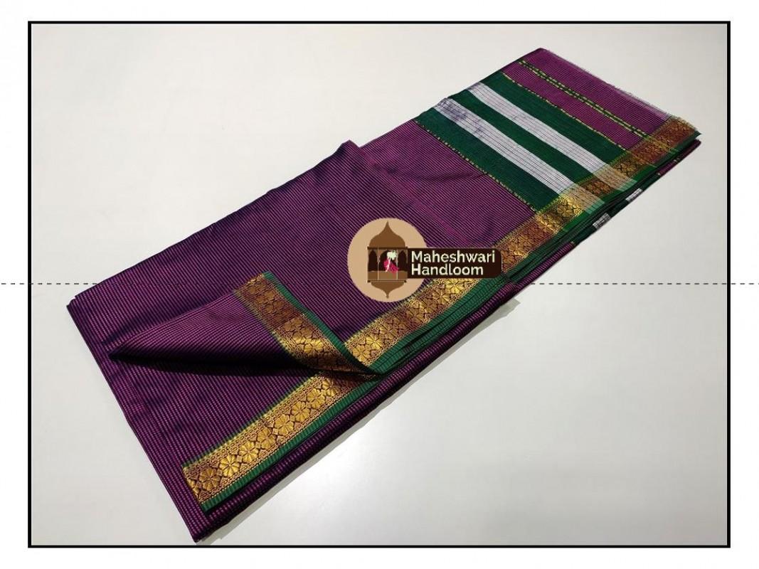 Maheshwari Purple Garbh Reshmi Saree
