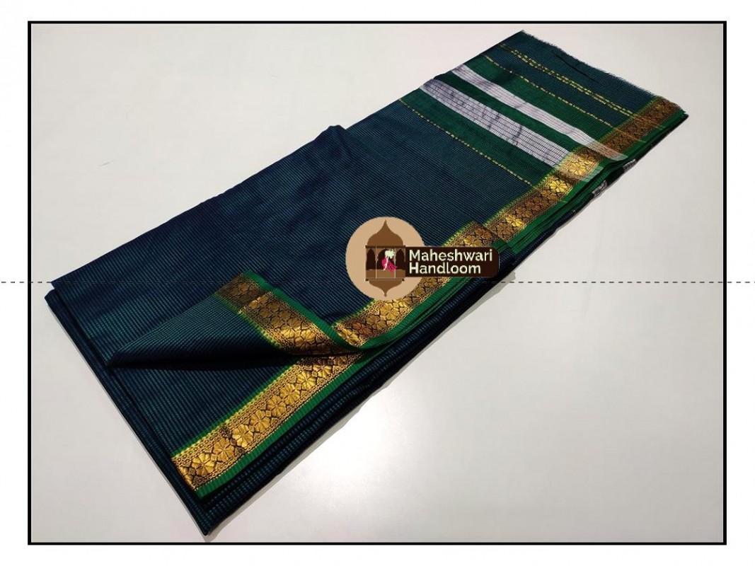 Maheshwari Rama Green Garbh Reshmi Saree