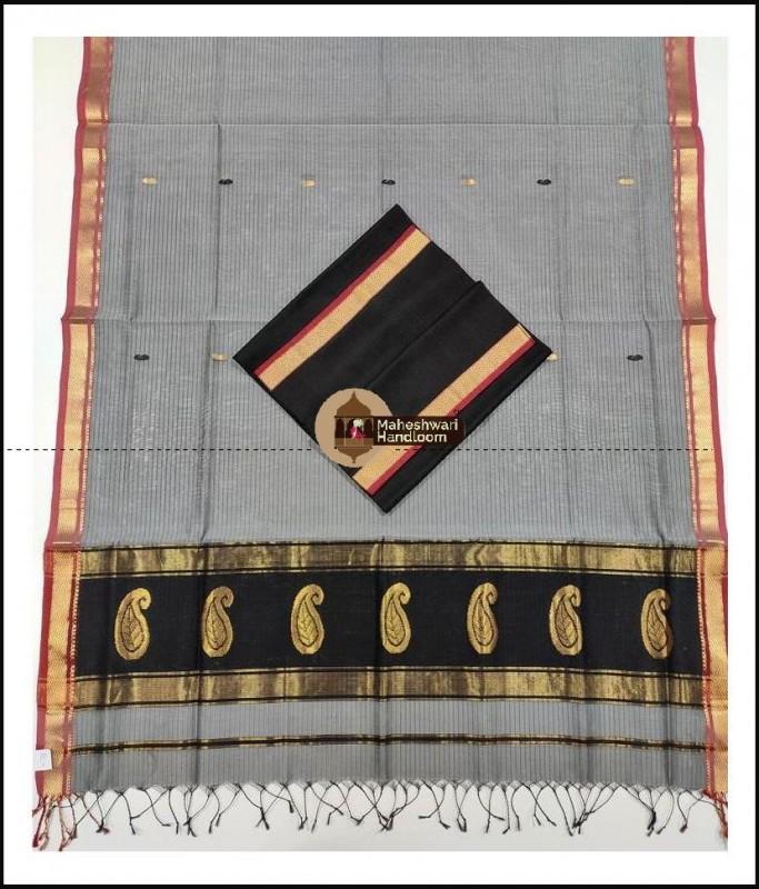Maheshwari Black-Tussar Buta Buti Weaving Top Dupatta Material
