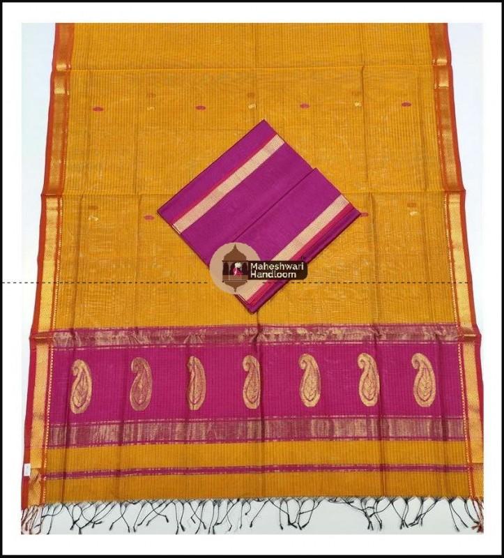 Maheshwari Pink-Yellow Buta Buti Weaving Top Dupatta Material