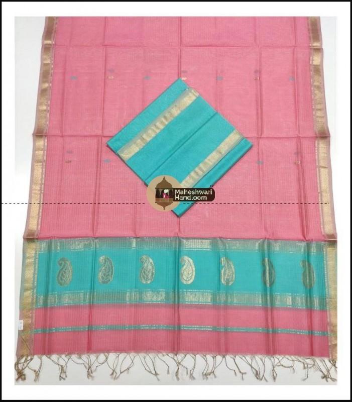 Maheshwari Firozi-Peach Pink Buta Buti Weaving Top Dupatta Material