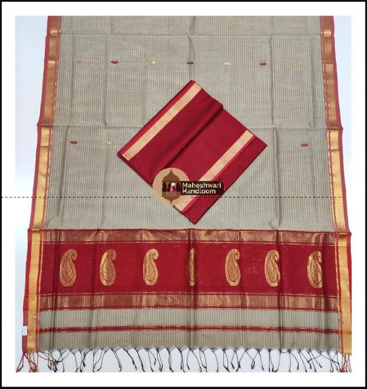 Maheshwari Maroon Red-Tussar Buta Buti Weaving Top Dupatta Material