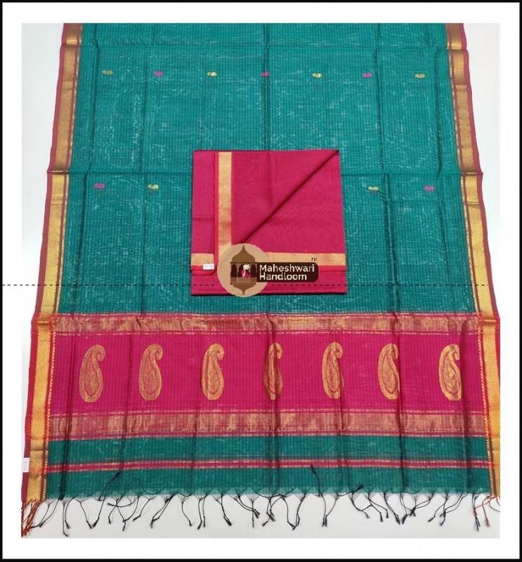 Maheshwari Tomato Red-Rama Green Buta Buti Weaving Top Dupatta Material