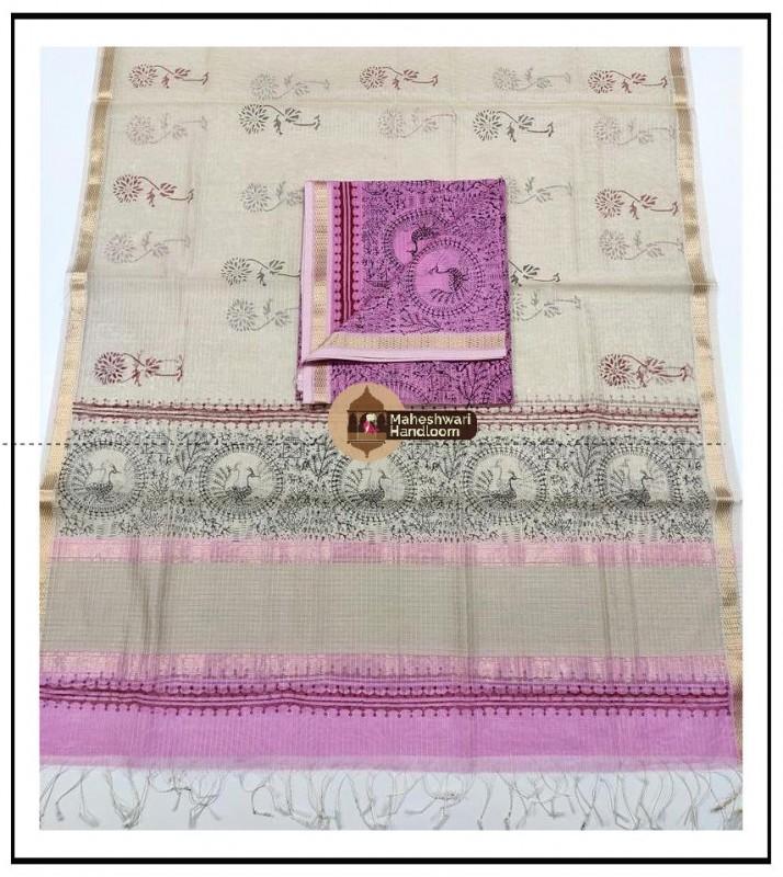 Maheshwari Baby Pink -Offwhite Handblock Printed Suit