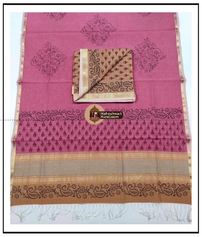 Maheshwari Sand -Pink Handblock Printed Suit