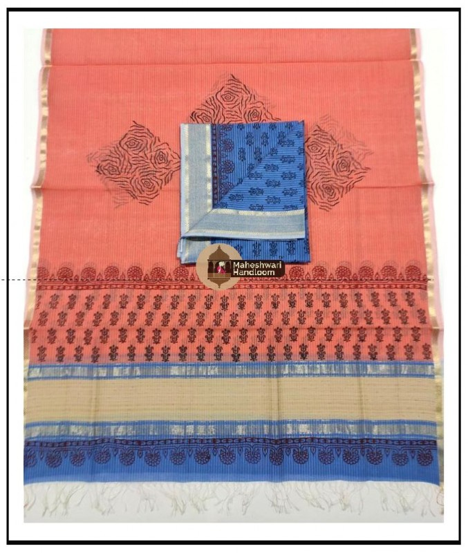 Maheshwari Blue- Orange Handblock Printed Suit