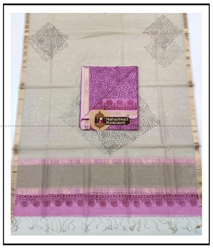 Maheshwari Pink -Offwhite Pink Handblock Printed Suit