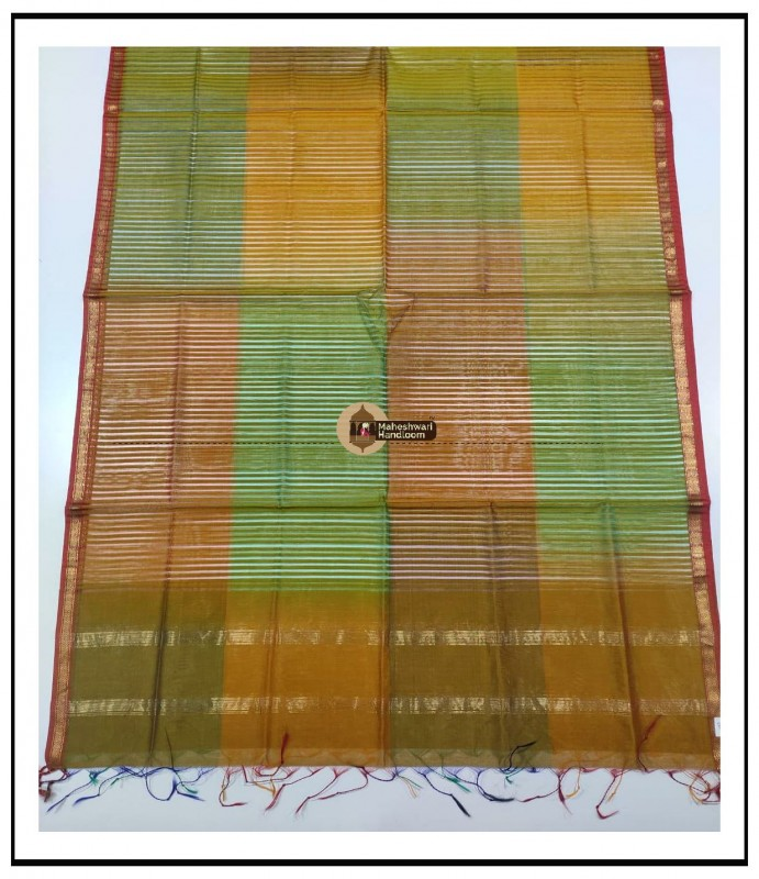 Maheshwari Yellow-Green Multicolour Silk Dupatta