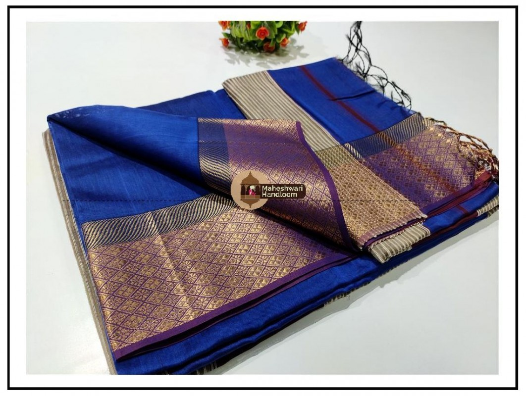 Maheshwari Blue zari Flower Border saree