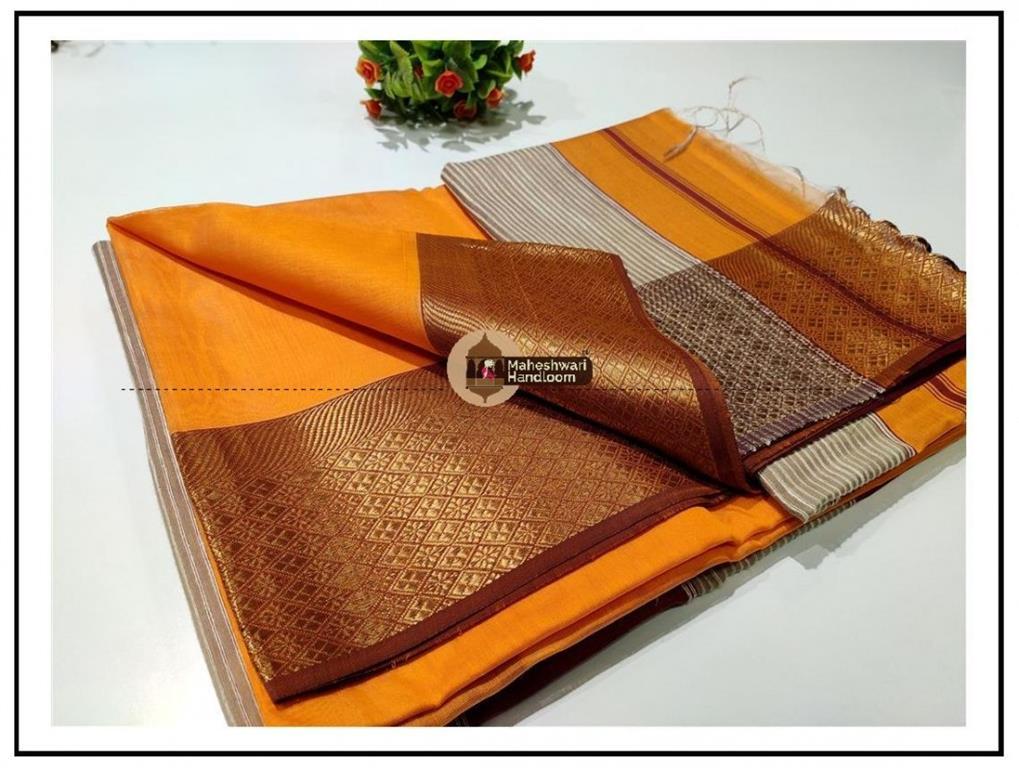 Maheshwari Orange zari Flower Border saree