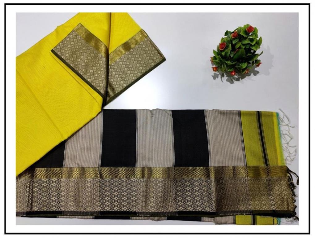 Resham Flower Border Saree