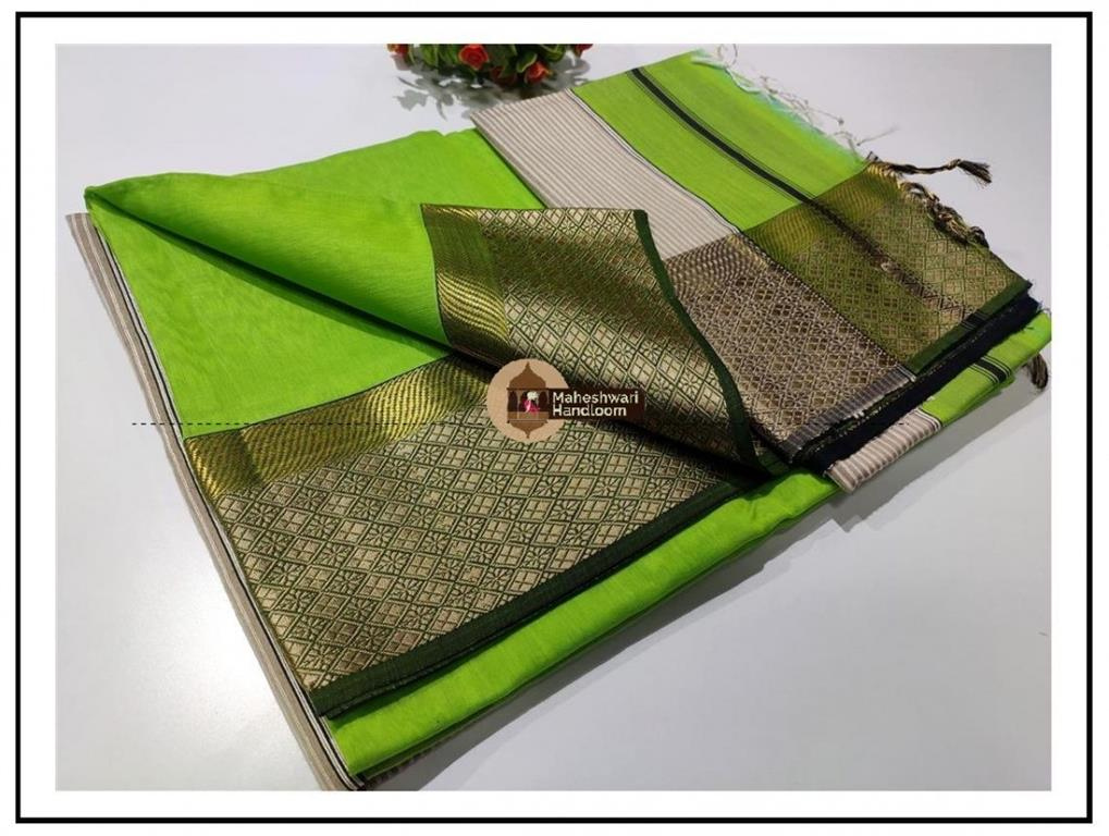 Maheshwari Green Resham Flower Border Saree