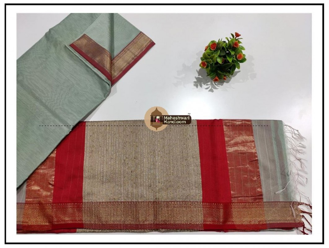 Maheshwari Cement Grey Gicha Pallu Saree