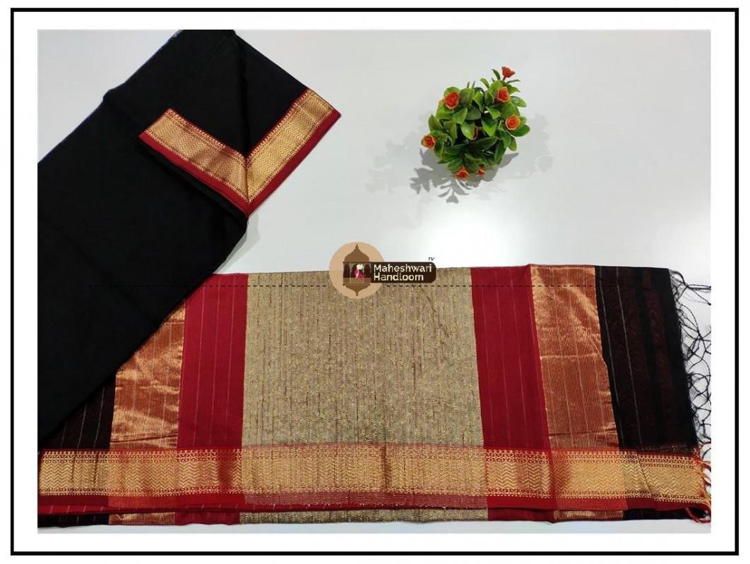Maheshwari Black Gicha Pallu Saree