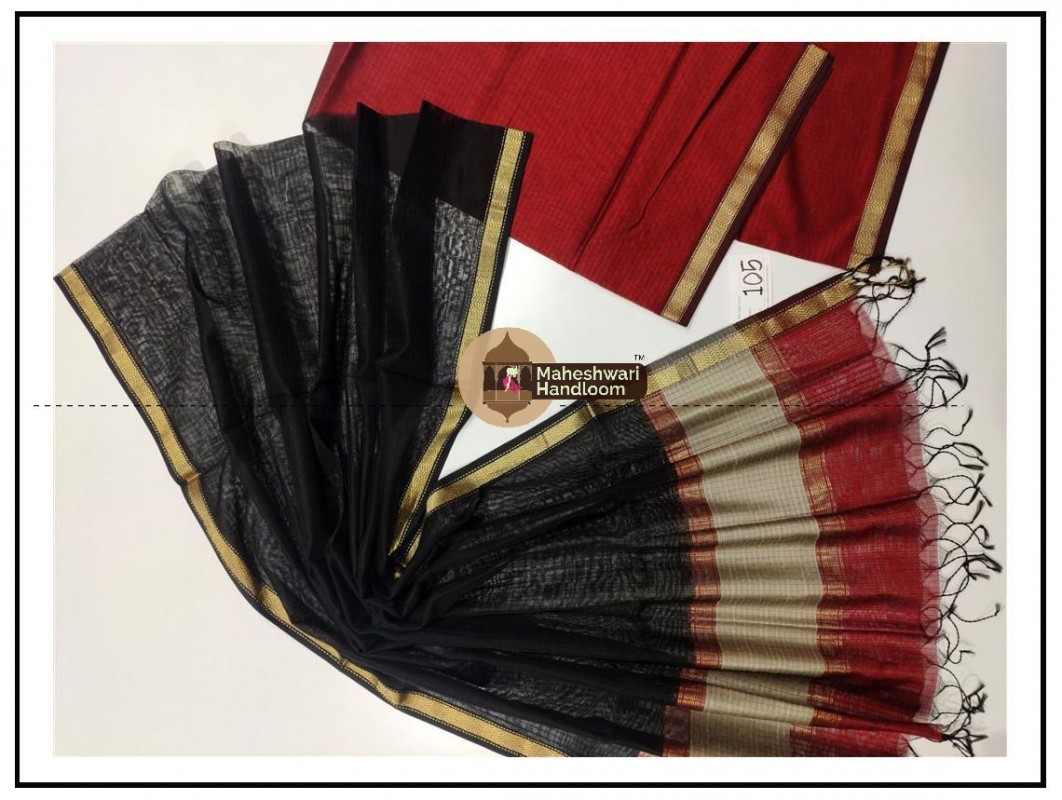 Maheshwari Maroon Red - Black Top Dupatta Material