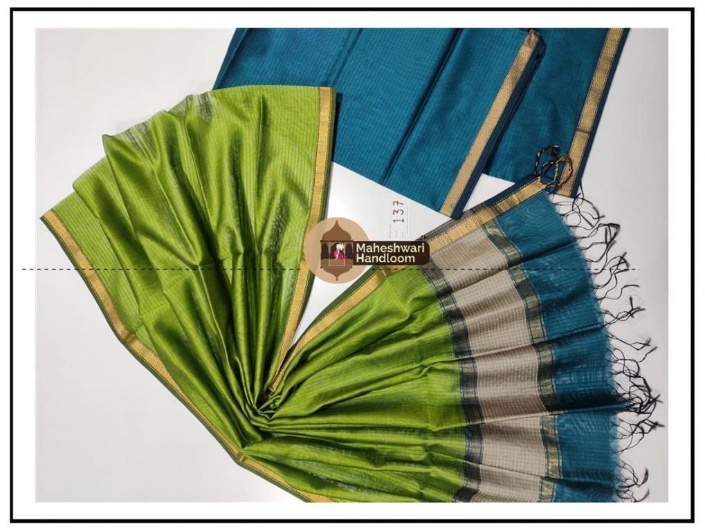 Maheshwari Rama Green- Green Top Dupatta Material
