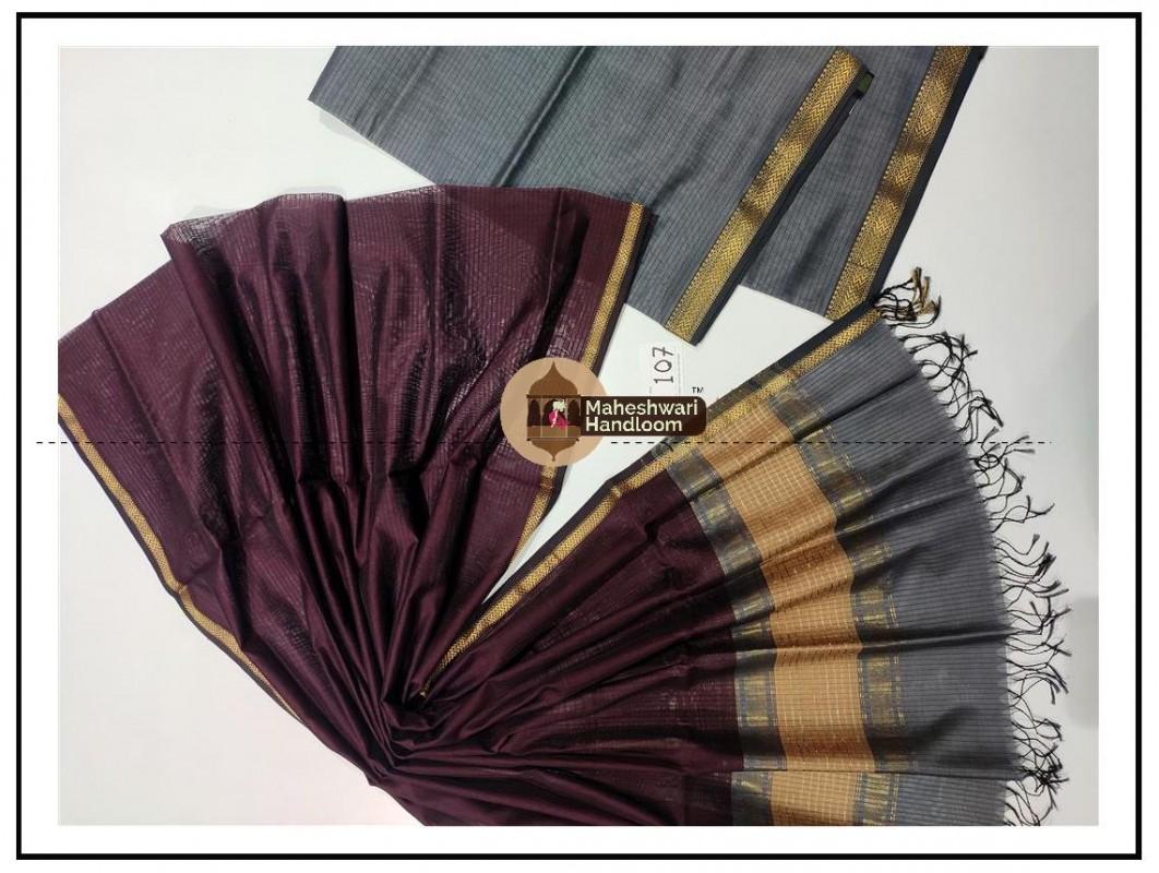 Maheshwari Grey- Dark MagentaTop Dupatta Material