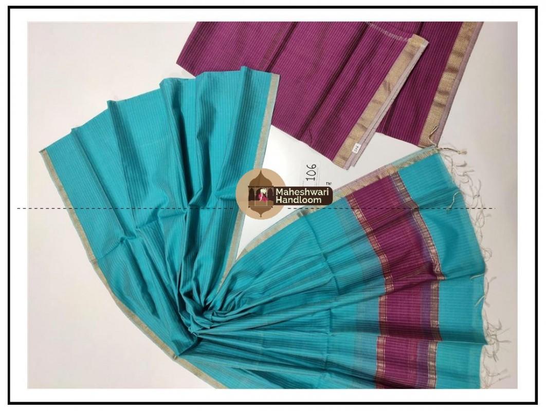 Maheshwari Purple- FiroziTop Dupatta Material