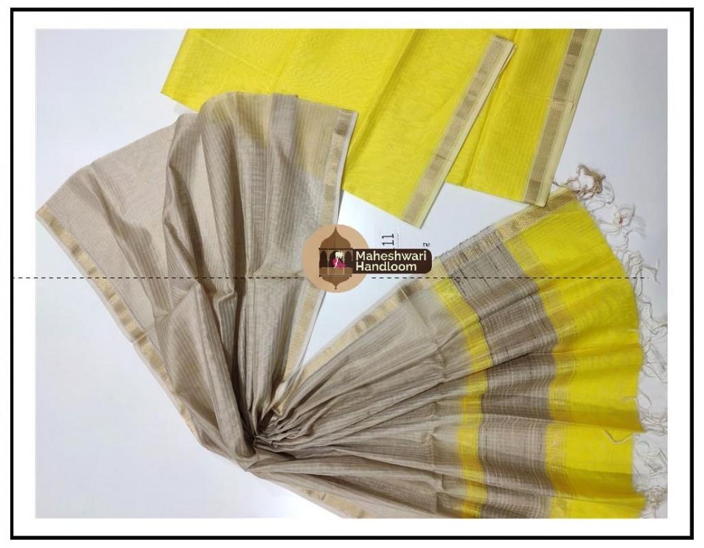 Maheshwari Yellow- GreyTop Dupatta Material