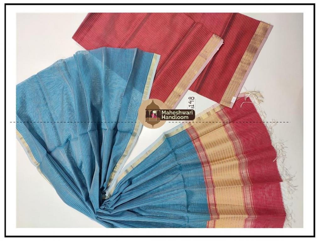 Maheshwari Rani Pink- Sea BlueTop Dupatta Material