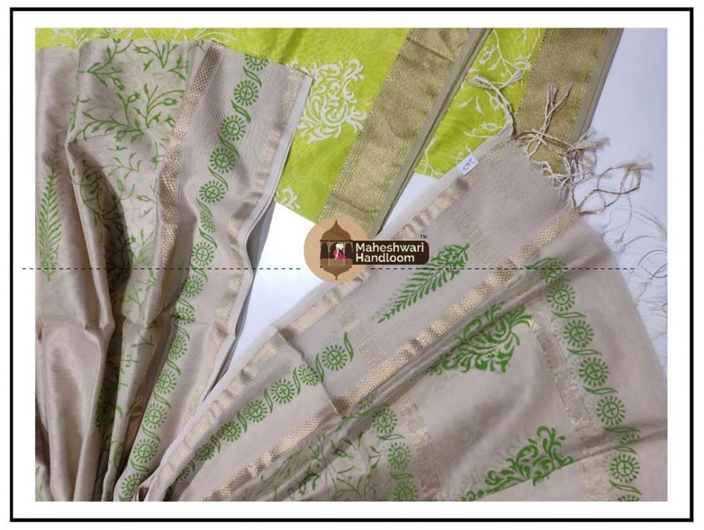 Maheshwari Green -white Pink Handblock Printed Suit