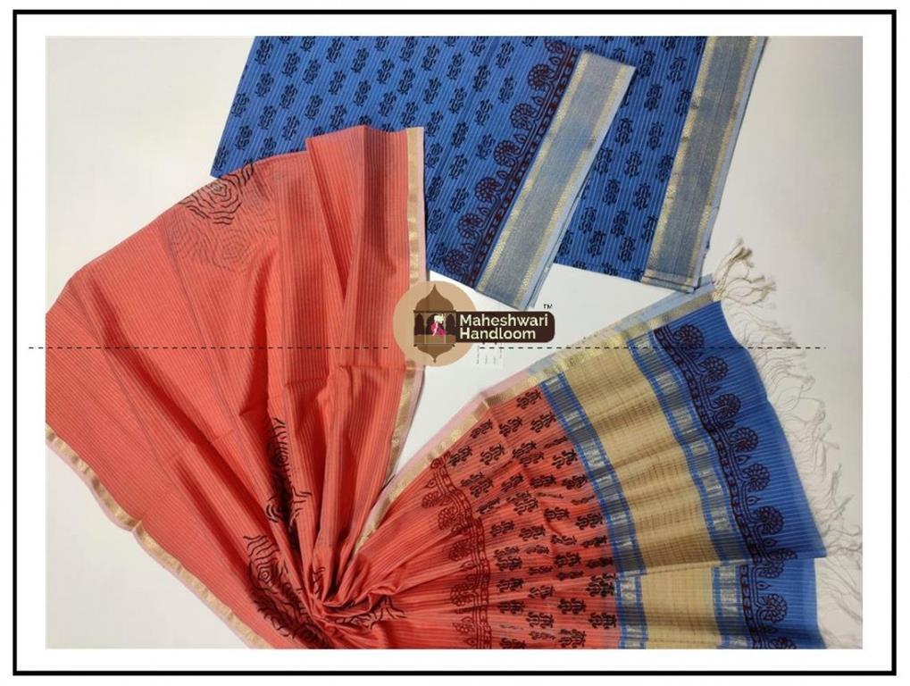 Maheshwari Blue-Carrot RedHandblock Printed Suit