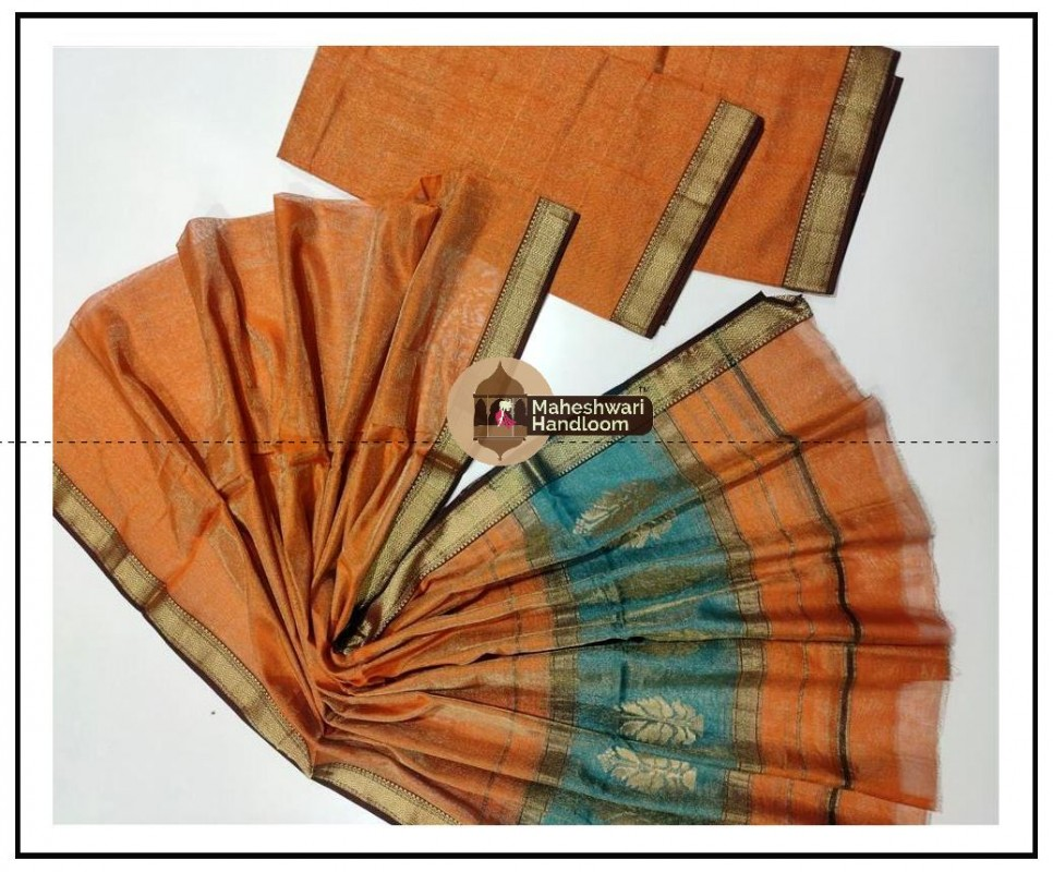 Maheshwari Tissue Orange Dress Material