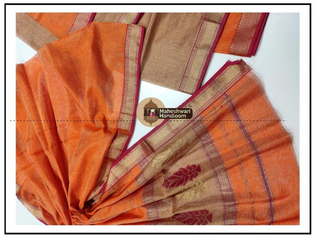 Maheshwari Tissue Tussar-Orange Dress Material