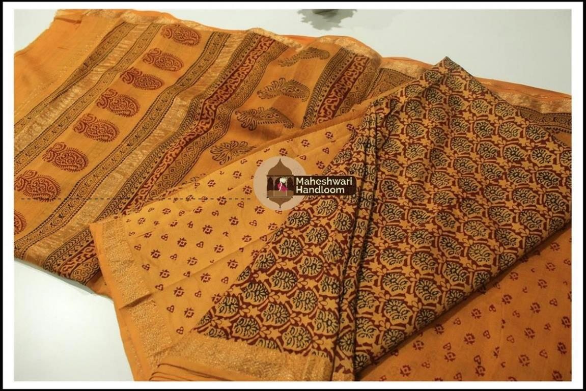 Maheshwari Maroon Red-  Orange Bagh print Silk Cotton Suits