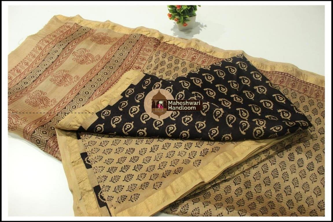 Maheshwari Black- Tussar Yellow Bagh print Silk Cotton Suits