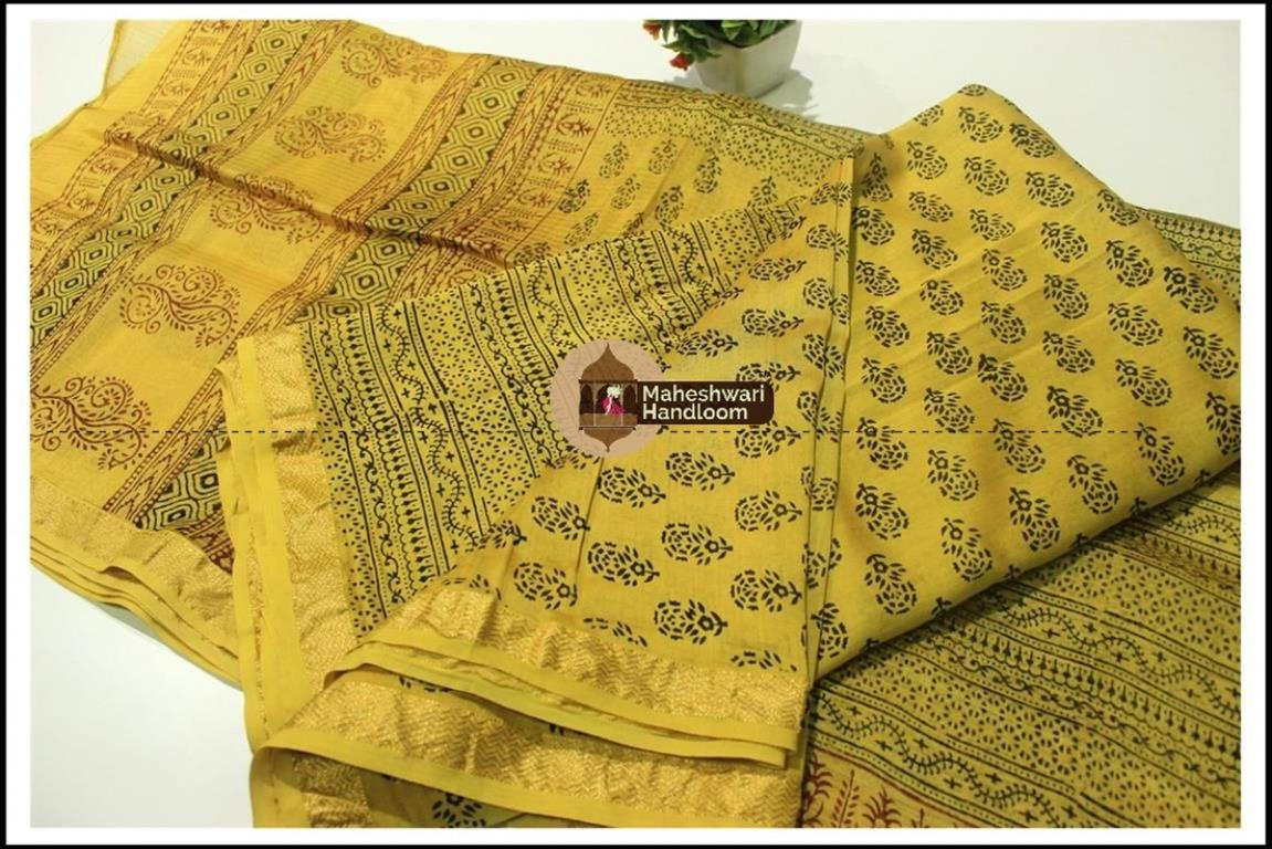Maheshwari Green Bagh print Silk Cotton Suits