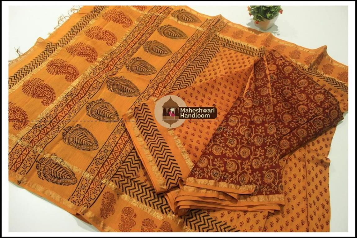 Maheshwari Maroon Red-Mustard Yellow Bagh print Silk Cotton Suits