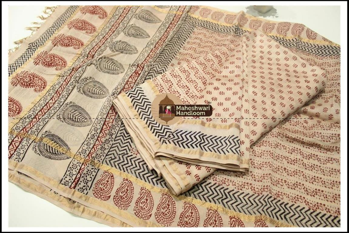 Maheshwari White Bagh print Silk Cotton Suits