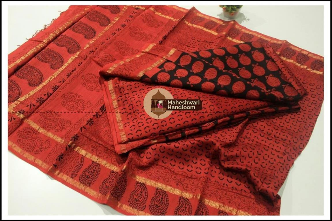 Maheshwari Black -Chukandar  Red Bagh print Silk Cotton Suits