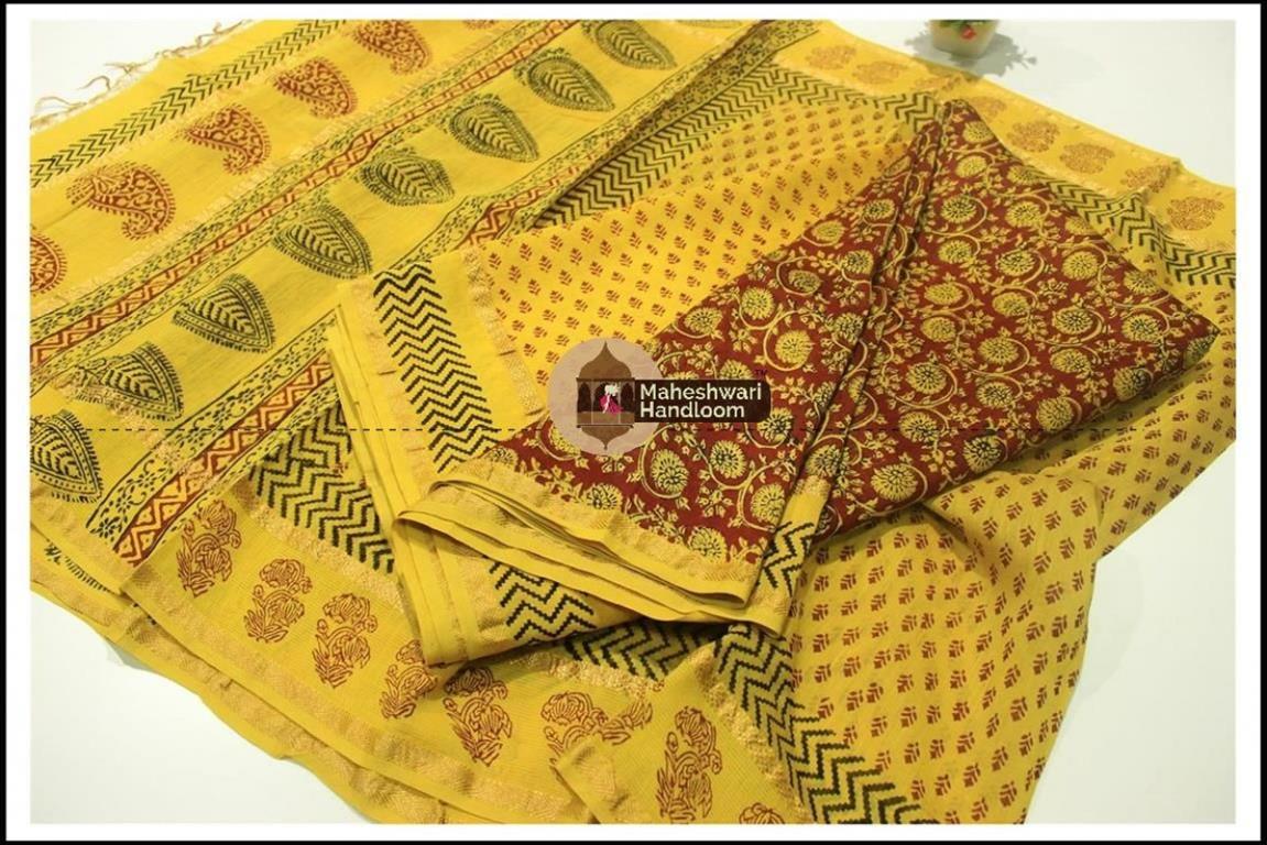 Maheshwari Maroon Red -YellowBagh print Silk Cotton Suits