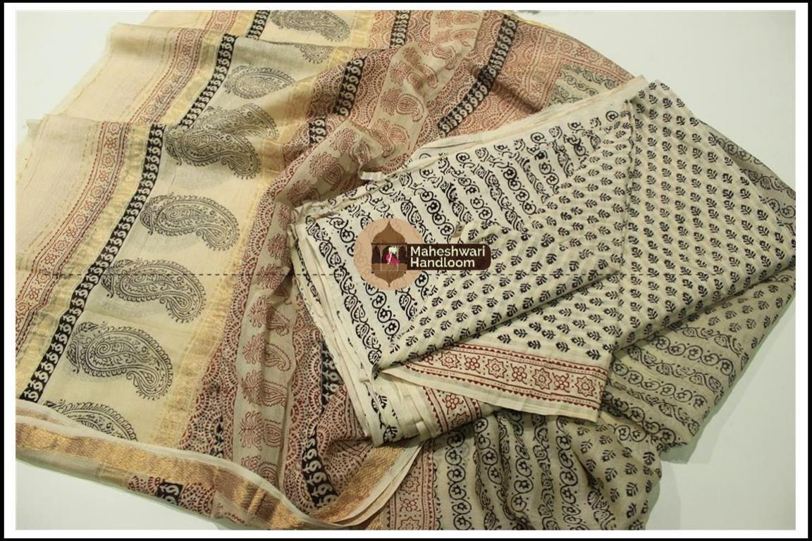 Maheshwari WhiteBagh print Silk Cotton Suits