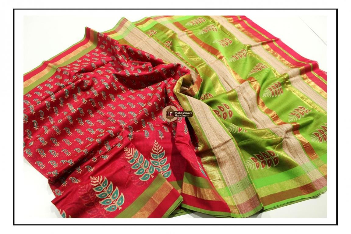 Maheshwari Red Handblock Printed Saree