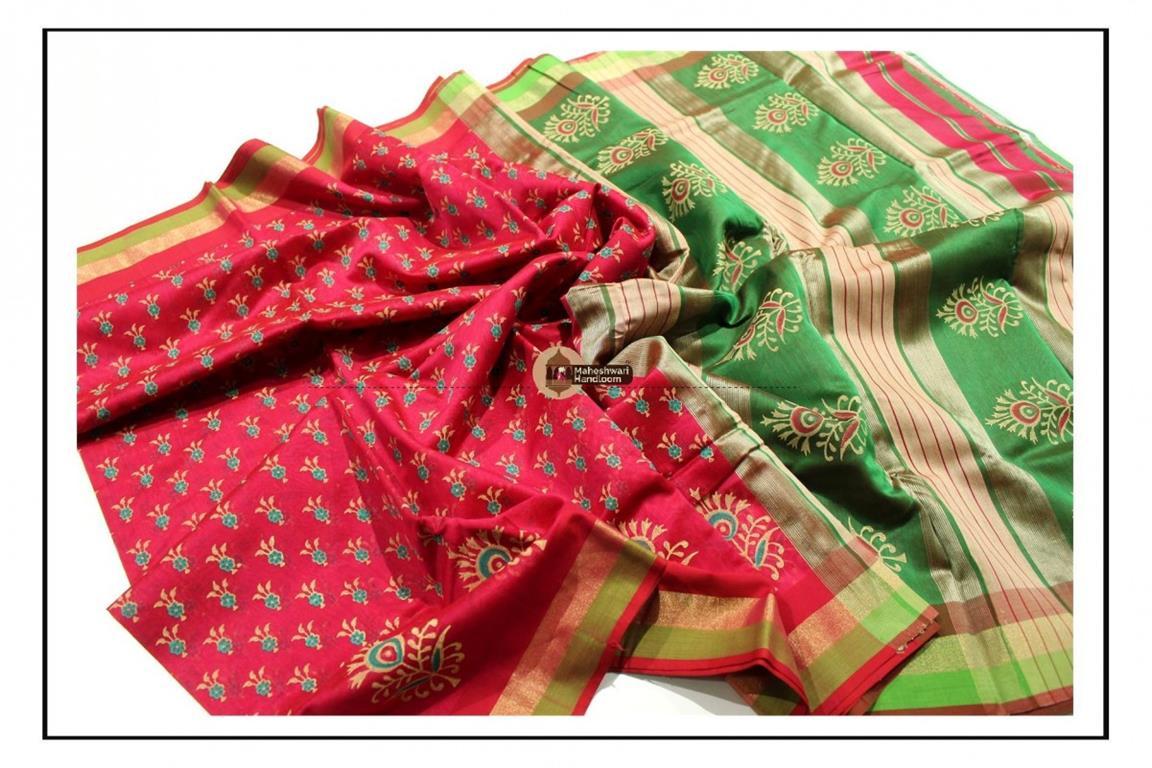 Maheshwari Dark Pink Handblock Printed Saree