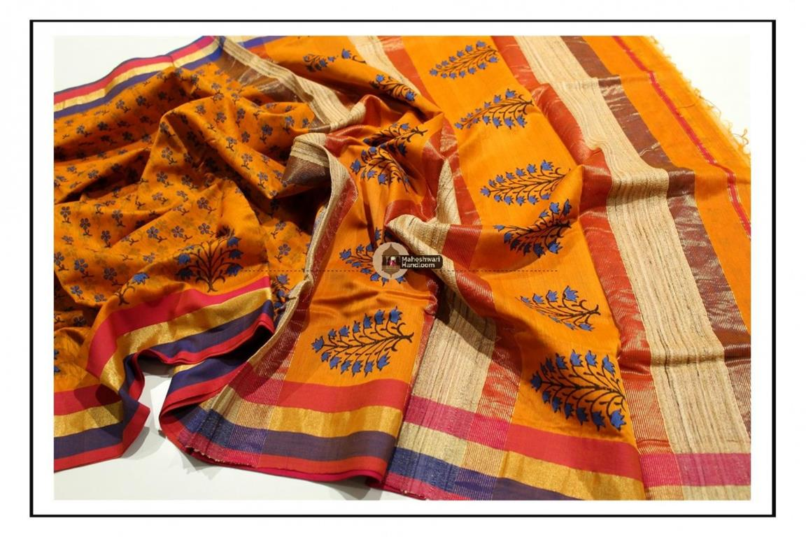 Maheshwari Orange Handblock Printed Saree