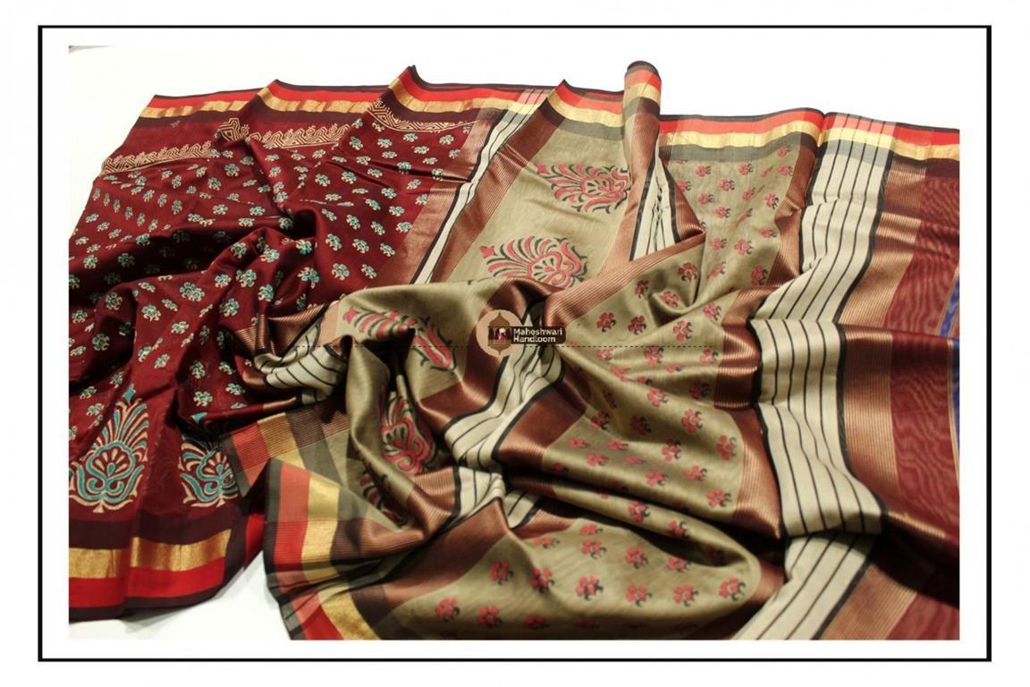 Maheshwari Maroon Handblock Printed Saree