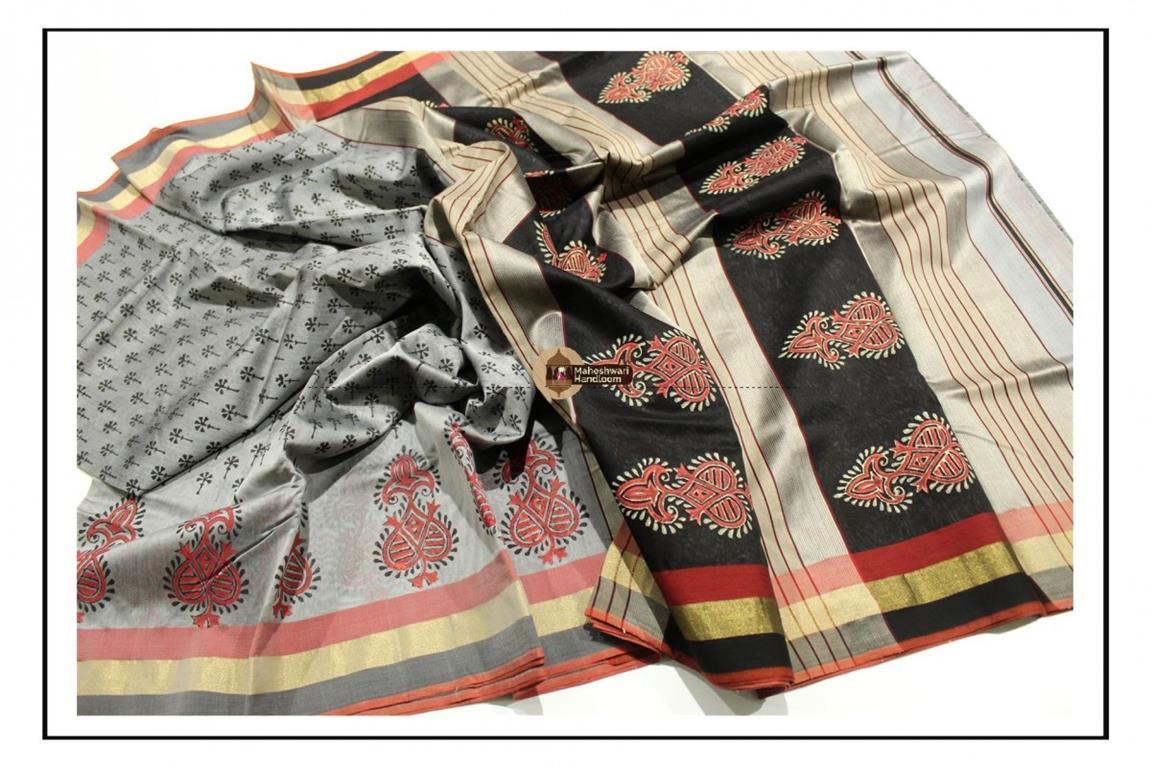 Maheshwari Silver Grey Handblock Printed Saree