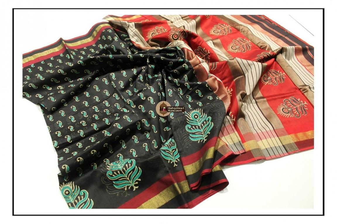 Maheshwari Black Handblock Printed Saree