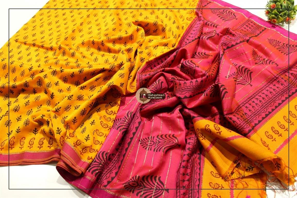 Maheshwari Yellow Handblock Printed Saree