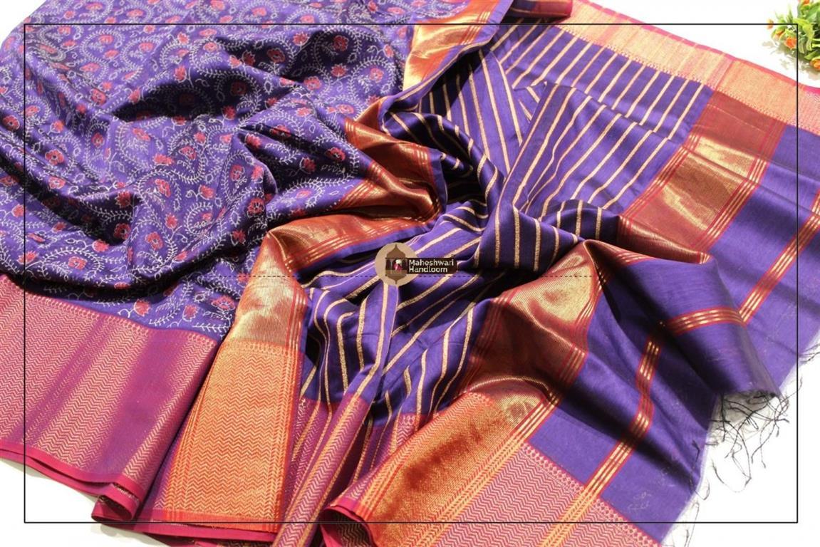 Maheshwari Blue Handblock Printed Saree